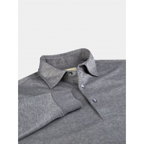Steel Grey L/S Jersey Polo Laying Flat