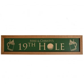 Example of 19th hole sign personalized with names