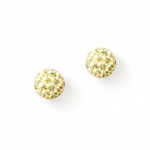 Golf Goddess Golf Ball Bead Earrings - Gold