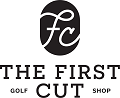The First Cut Golf Shop Logo: On light items, the text and oval fill are black. TFC text inside the logo is white. On dark items, the text and oval fill are white. TFC text inside the logo is black.